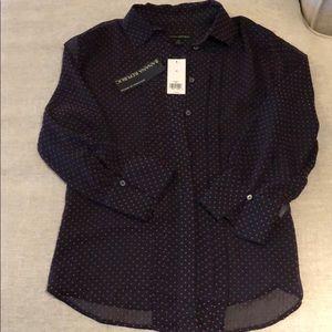 Sheer Navy Banana Republic blouse - new w/tags!